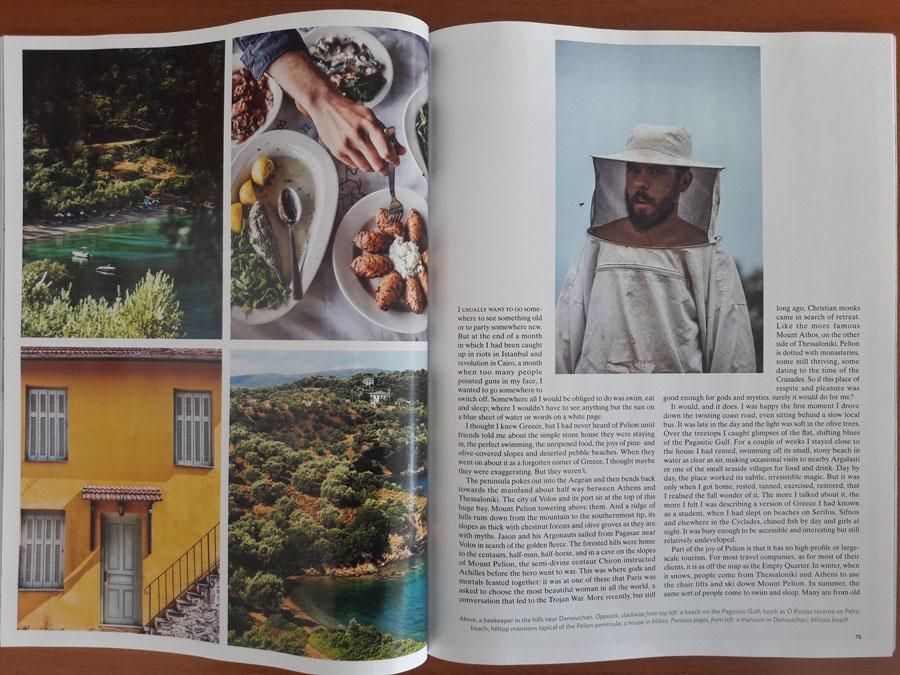 Εντυπωσιακή επίσης η φωτογραφία όπου ένας νεαρός μελισσοκόμος μάλλον  σαστισμένος και αιφνιδιασμένος ποζάρει στο φακό του Conde Nast Traveller Σε μια γωνιά του αφιερώματος ξεχωρίζει και μια φωτογραφία του Damma Mia από την ίδια περιοχή.