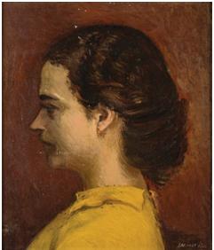 Γιάννης Μόραλης,  Λουκία  Μαγγιώρου. Προσωπογραφία. 1939.  Λάδι σε μουσαμά, 27,5Χ22,5 εκ.