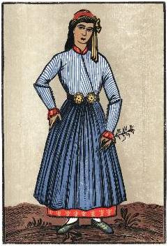 «Πηλειορίτισσα», έγχρωμη ξυλογραφία. Από το βιβλίο του Κίτσου Μακρή «Πηλιορείτικες φορεσιές».